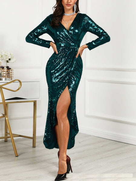 Sparkling sexy V-neck high slit slim dress CODE: mon1717