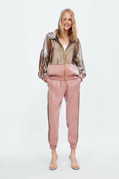 Satin hooded casual jacket pants two-piece suit CODE: mon1724