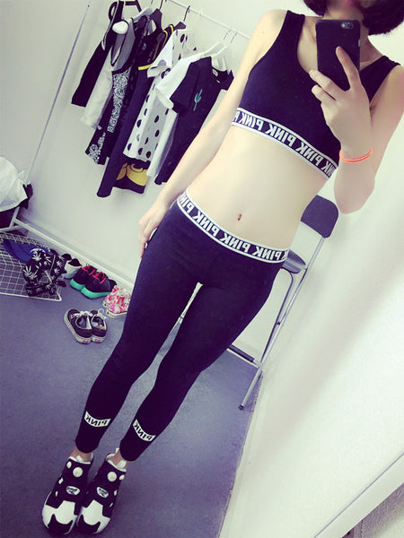Letter vest tight leggings yoga sports suit CODE: mon1732