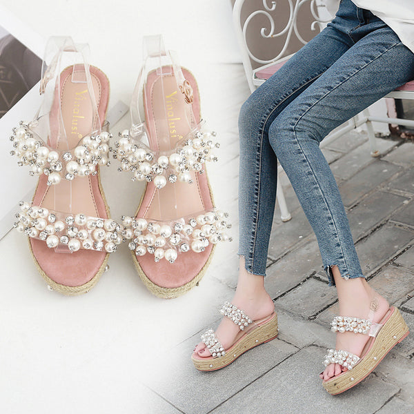 beaded rhinestone high heel sandals CODE: mon1743