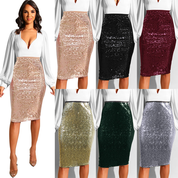 Sequins Slim bag hip Skirt CODE: mon1746