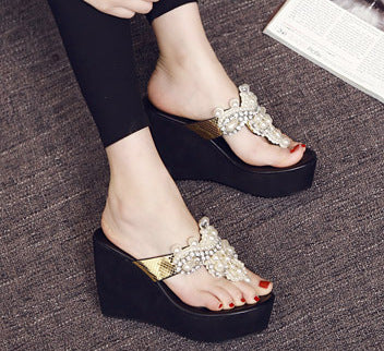 Rhinestone Beaded Wedge Flip-Flops High Heel Sandals CODE: mon1748