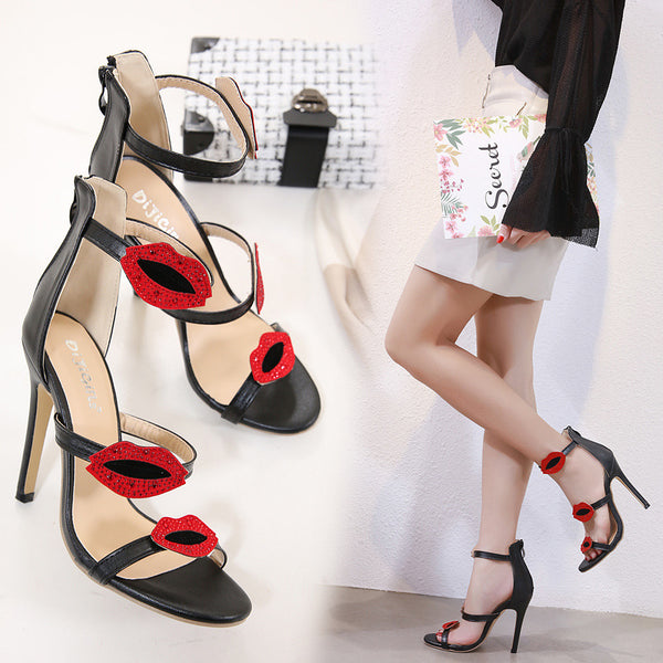 Sexy high-heeled sandals red lips shoe CODE: mon1751