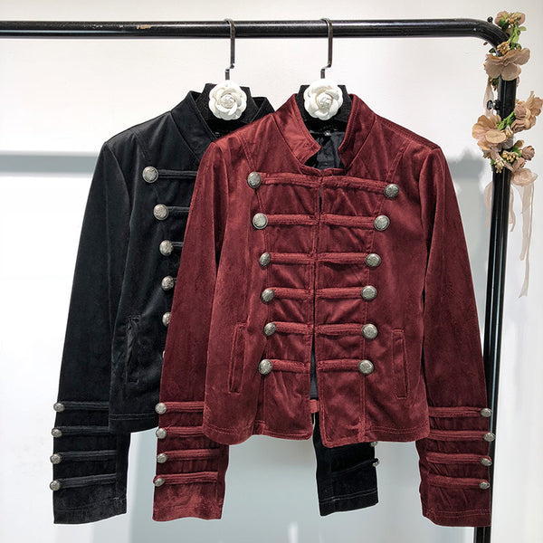 Long-sleeved velvet military style buckle jacket CODE: mon1761