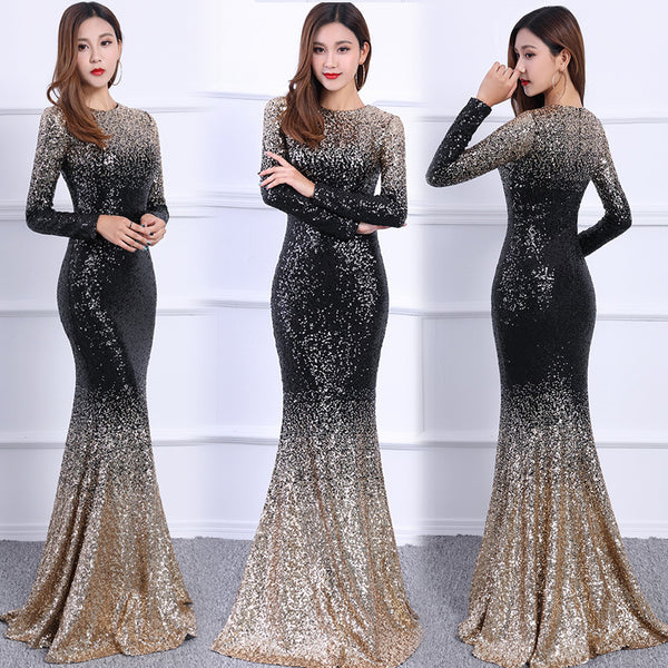 Elegant fishtail party slim evening dress CODE: mon1769