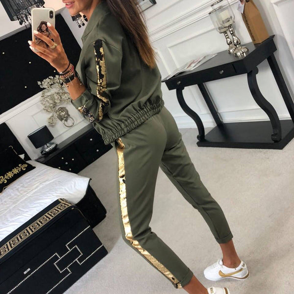 Casual sequin stitching jacket trousers sports suit CODE: mon1782
