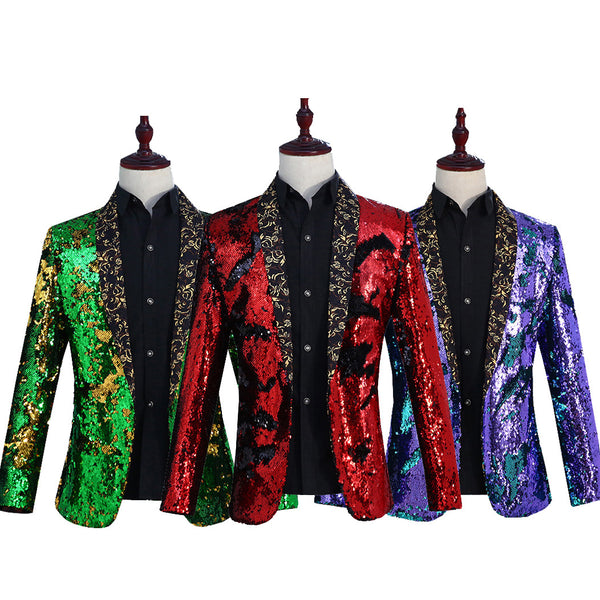 Men's sleek piece fruit collar suit nightclub Sequins Coat CODE: mon1785
