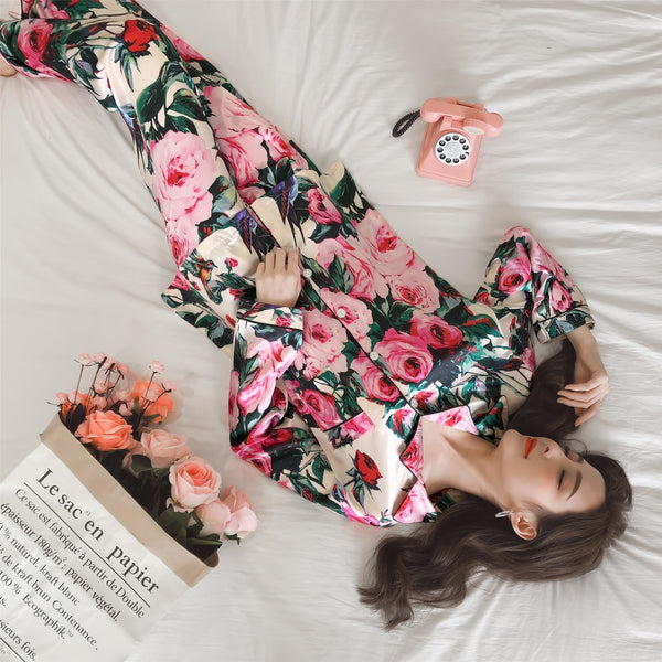 Pajamas rose flower print suit set CODE: mon1818