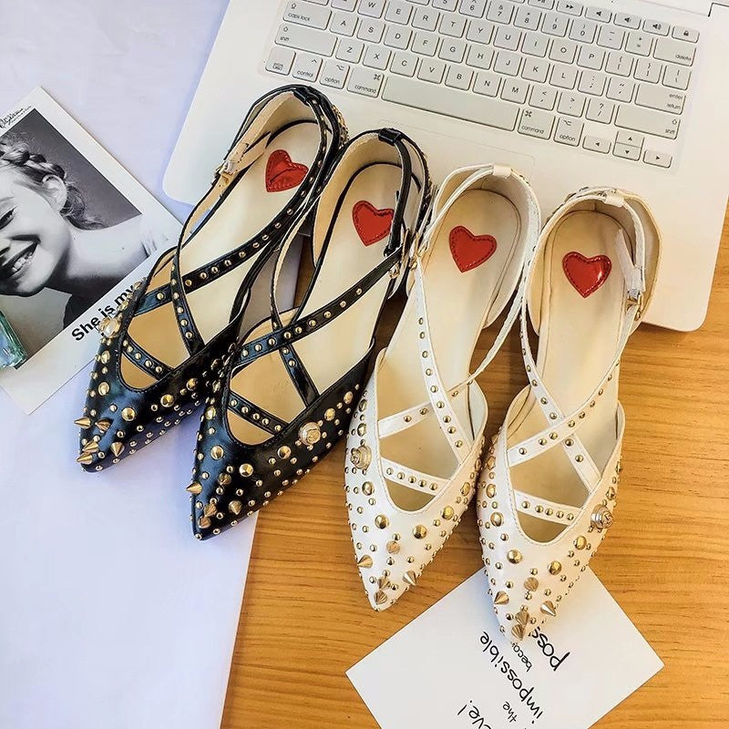 pointed flat shoes shallow mouth CODE: mon487
