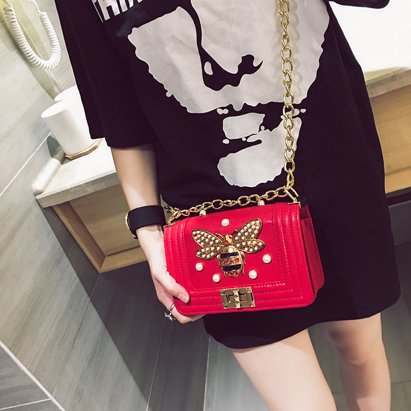 Small square bag rivets lock handbag  CODE: mon496