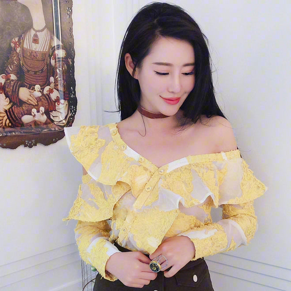 yellow jacquard lotus leaf side strapless Top CODE: mon527