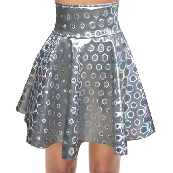 Shrine Silver Shiny laser Skirt CODE: mon535