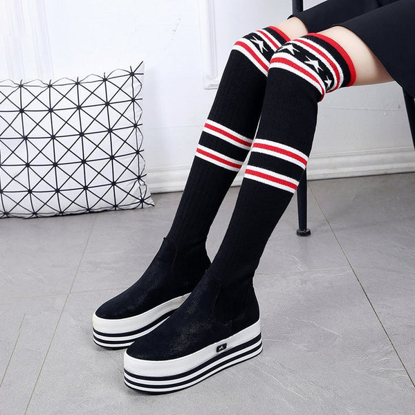 New knee stovepipe stockings boots flats CODE: mon548