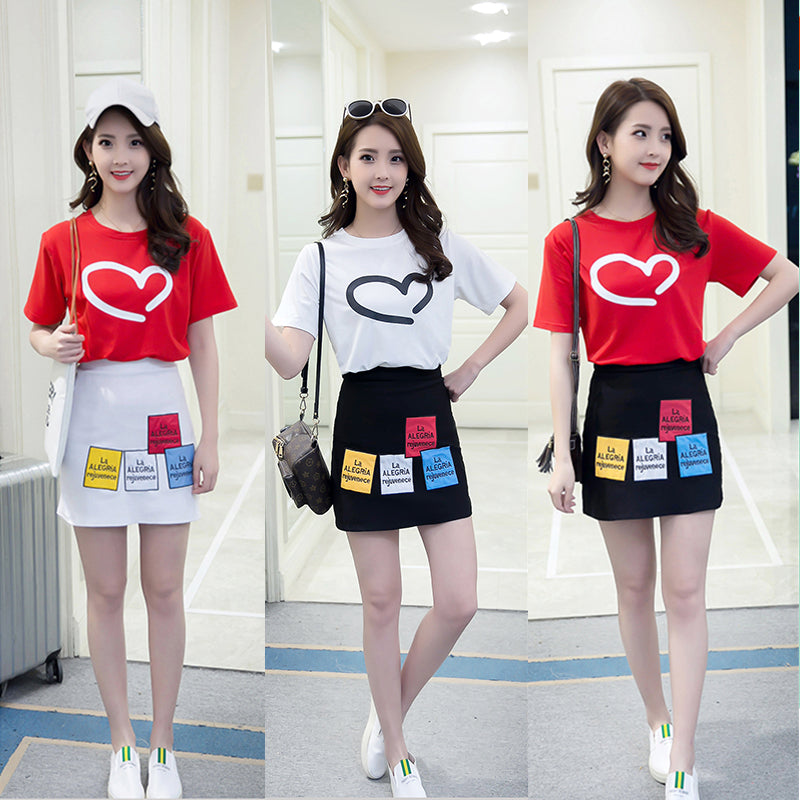 new short-sleeved T-shirt + skirt dress Set CODE: mon564