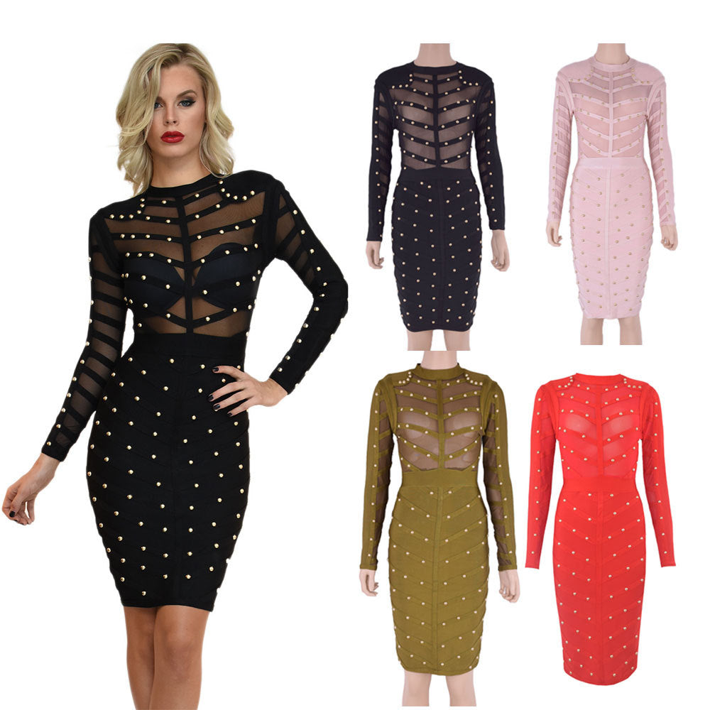 high-quality celebrity bandage  long-sleeved beaded dress CODE: mon58