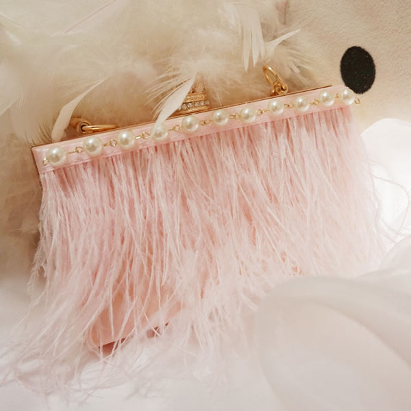 New acrylic pearl bag ostrich tassel feather dinner package bag CODE: mon585
