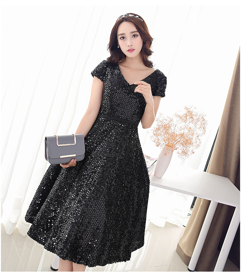 new black Elegant Beautiful Sequins Party wear Dress CODE: mon588
