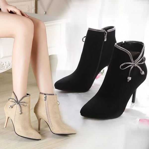 bowknot short tube high heeled boots shoes CODE: mon592