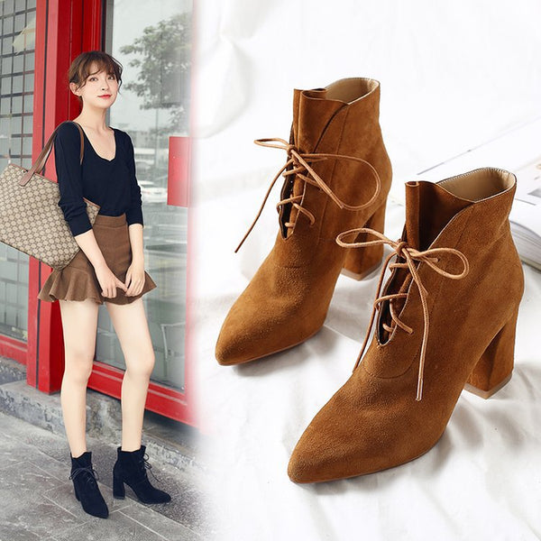 pointed thick high-heel bare boot CODE: mon612