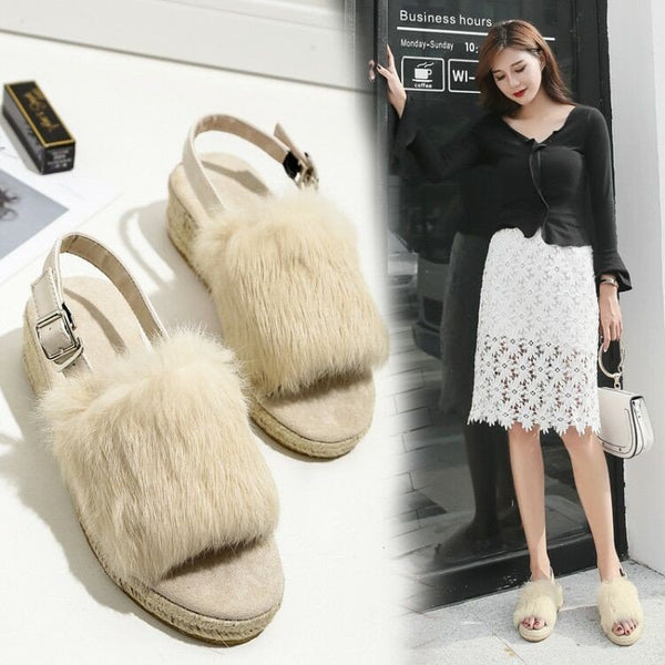 fur slope buckle Sandal CODE: mon613