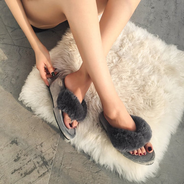Slope toe slippers  cashmere warm CODE: mon616