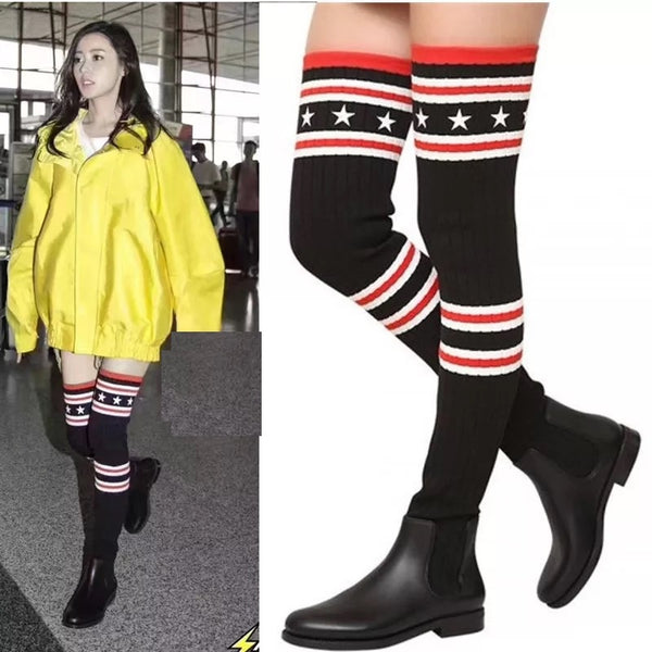 Knee stovepipe socks boots  women flat down CODE: mon618