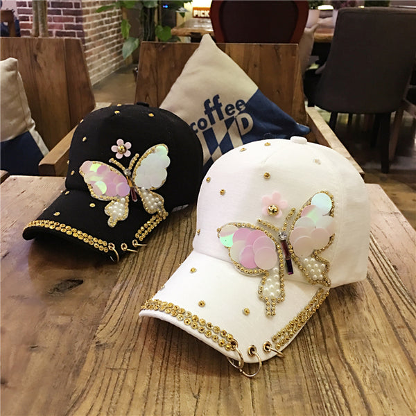 butterfly diamond baseball hat cap CODE: mon631