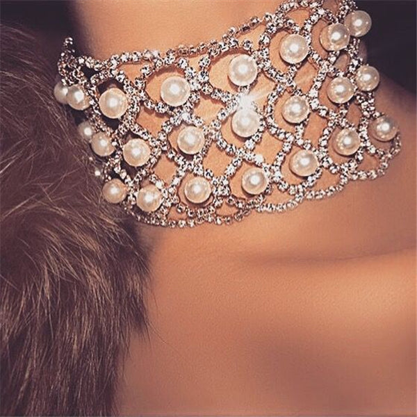 Pearl necklace alloy big necklace chain clasp choker CODE: mon638