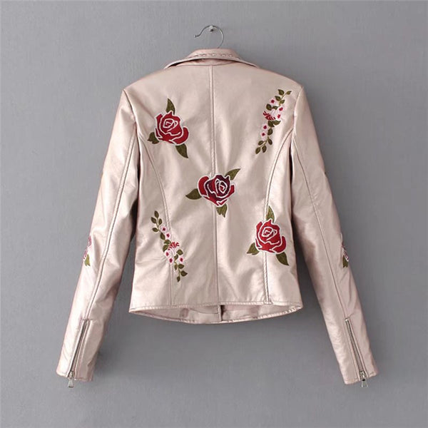 Rivets embroidery floral motorcycle  jacket CODE: mon643