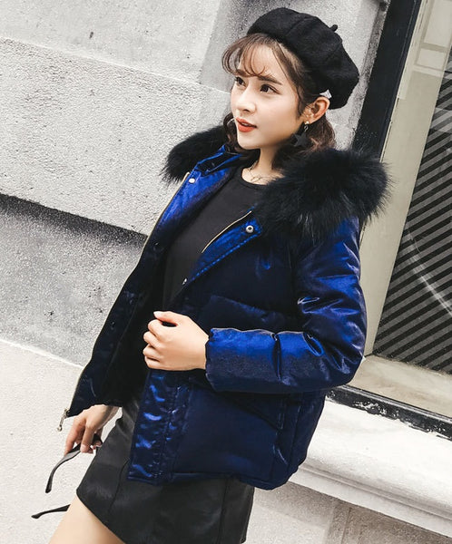Collar Hoodie  fur down jacket  Slim thin hair collar Winter CODE: mon645