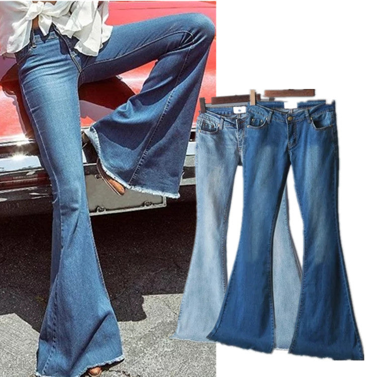 Tight elastic stretch washed big bell pants jeans trousers CODE: mon648