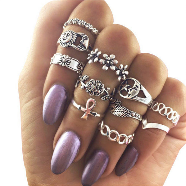 Flower ring alloy diamond leaves 11 piece Ring CODE: mon654