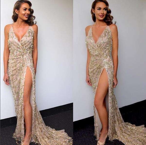 high open split sexy sequins long Slit Maxi dress CODE: mon657