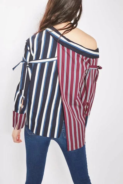 red striped irregular strapless shirt CODE: mon659