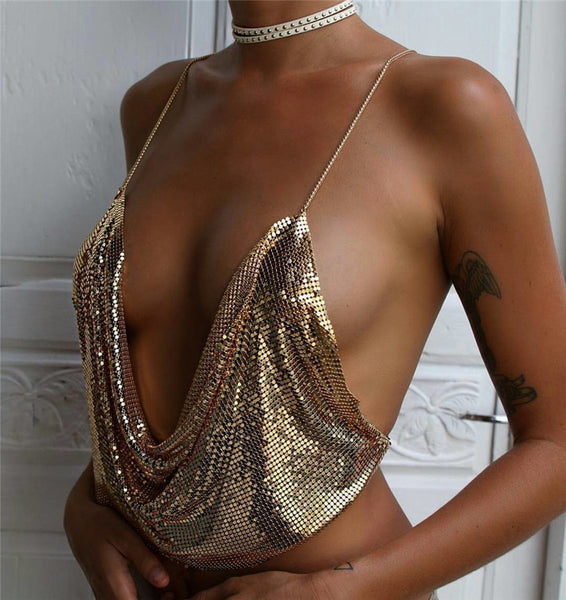 harness tube metal sequins vest Tank Top Backless CODE: mon670