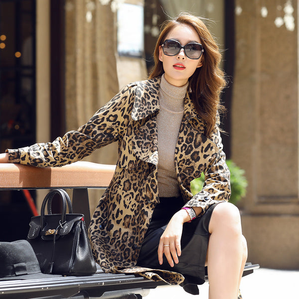 long paragraph double-breasted temperament camouflage leopard coat CODE: mon672