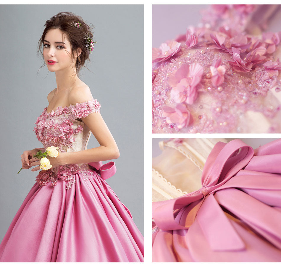 Pink Flowers Bride Wedding Dress Dinner Party Dress Code Mon679