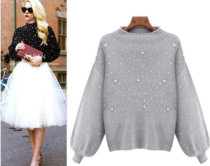 Plus size Available women's sweaters loose beaded sweater CODE: mon693