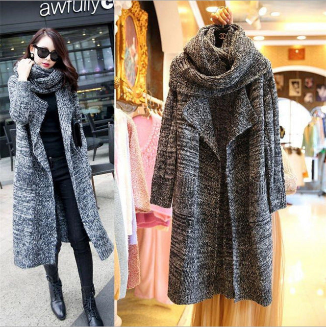 big scarf lapel Slim  knit cardigan long sweater thick coat CODE: mon694