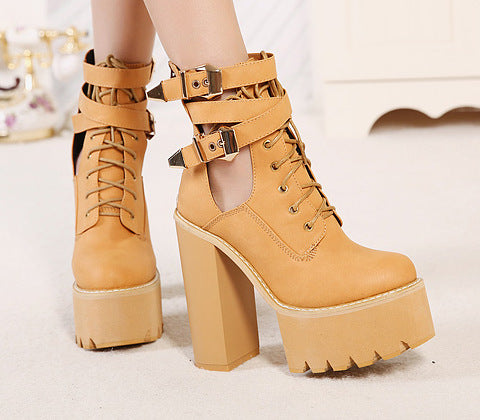 high metal buckle platform high heel Martin boots CODE: mon705