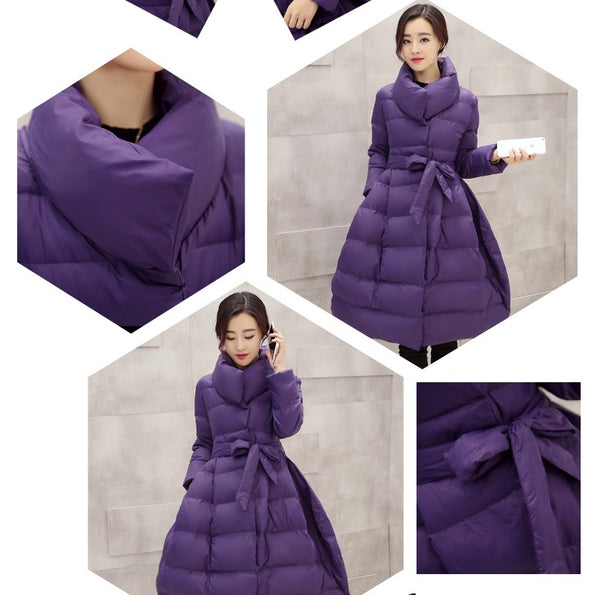 new style down coat cotton long section  waist CODE: mon709