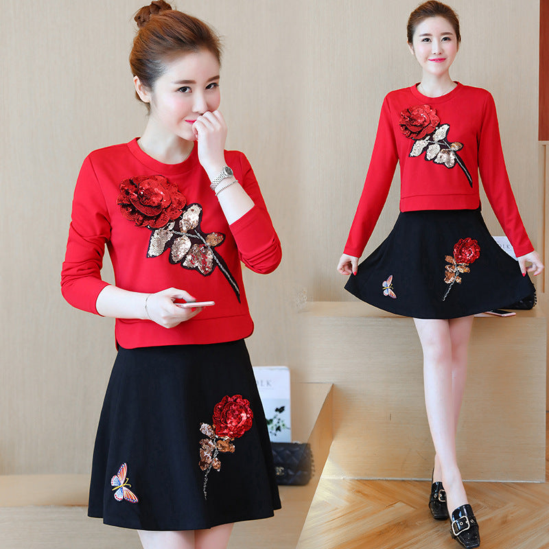 long-sleeved  Sequins Rose two-piece suit skirt Set CODE: mon716