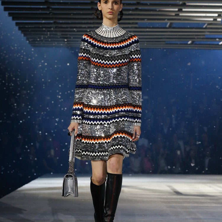 Catwalk Heavy Sequin beading color strip knit sweater dress CODE: mon726