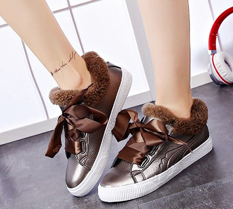 tie flat shoes boots plus cashmere CODE: mon738