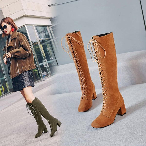 high heel boots cross straps long boots CODE: mon743