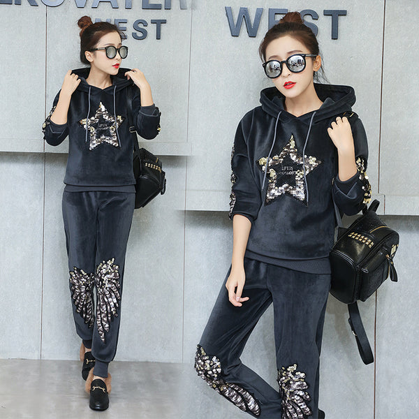 velvet thick hooded sweater suit sequined sports two-piece suit CODE: mon745