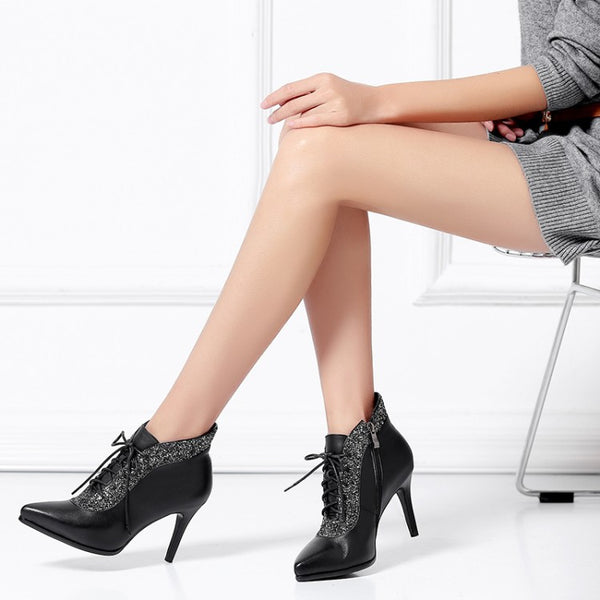 pointed strap high heels creative short boots CODE: mon746
