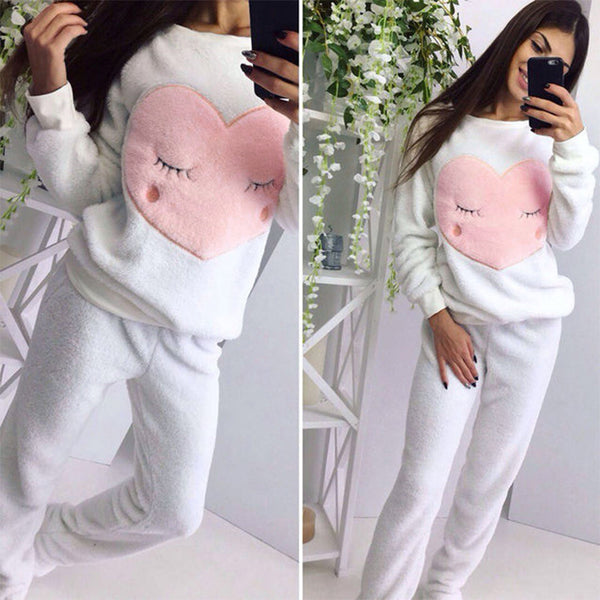 cartoon peach heart  long sleeve pajamas  set CODE: mon747