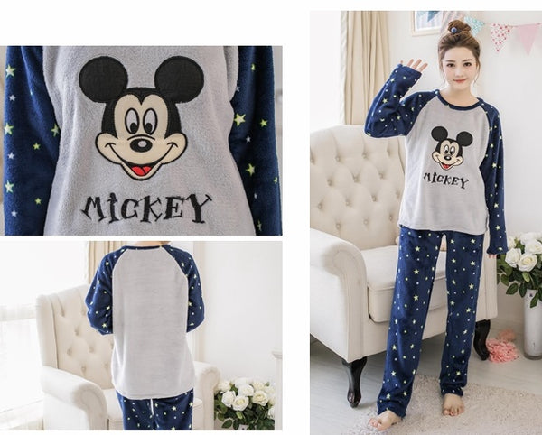 thicker flannel pajamas cartoon cute long-sleeved Set CODE: mon748