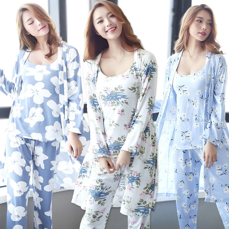 cardigan pajamas ladies three-piece suit printed sling CODE: mon752